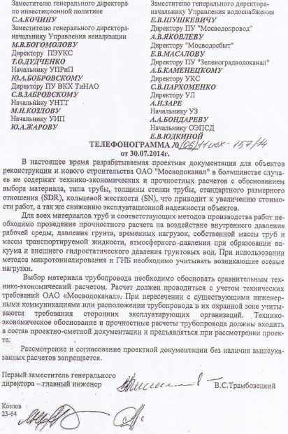 Telefonogramma OAO Mosvodokanal