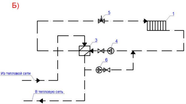 Схема системы отопления без элеватора