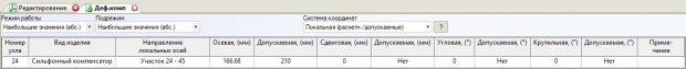 Результат расчета деформации компенсатора при растяжке 178.5 мм